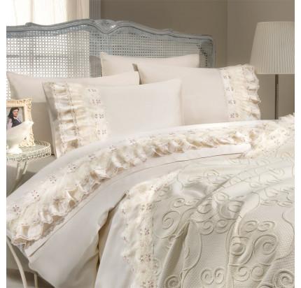 Набор постельного белья с покрывалом Gelin Home Tomurchuk (кремовый) евро