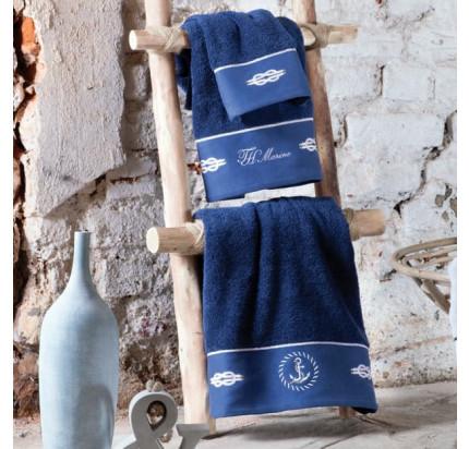 Набор полотенец Tivolyo Home Ancora (темно-синий) 3 предмета + ароматизатор