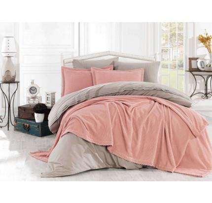 Набор с покрывалом Hobby Home Natural персиковый 1.5-спальный