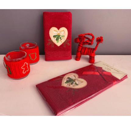 Новогоднее полотенце-салфетка La Villa Kalp Desenli (бордовый)