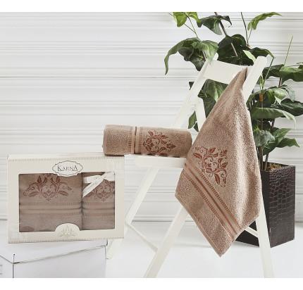 Набор полотенец Karna Agra (коричневый, 2 предмета)
