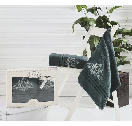 Набор полотенец Karna Agra (темно-зеленый, 2 предмета)