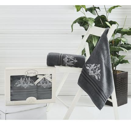 Набор полотенец Karna Agra (темно-серый, 2 предмета)