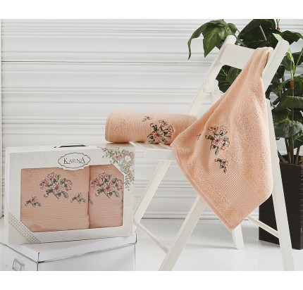 Набор полотенец Karna в коробке Devon (абрикосовый, 2 предмета)