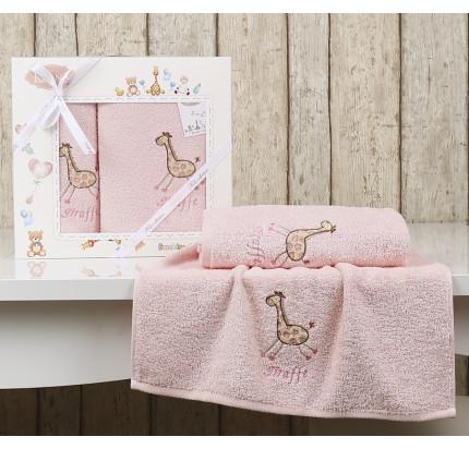 Набор полотенец Karna Bambino Giraffe (2 предмета, розовый)