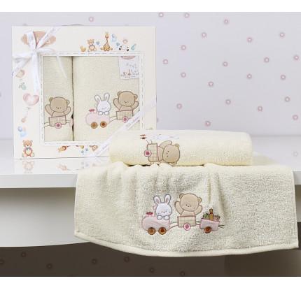 Набор полотенец Karna Bambino Train (2 предмета, молочный)