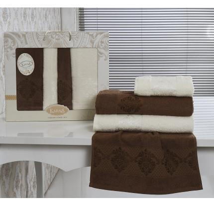 Набор полотенец Karna Dora (кремовый-коричневый, 4 предмета)