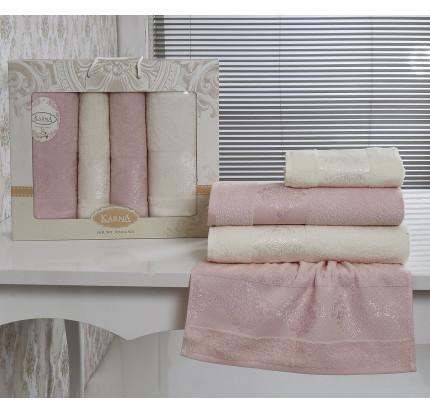 Набор полотенец Karna Dora (светло-розовый, кремовый, 4 предмета)