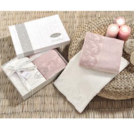 Набор полотенец Karna Elinda 50x90 (кремовый-пудра, 2 предмета)