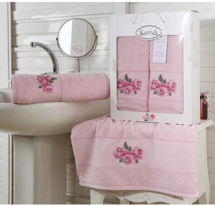 Набор полотенец Karna Havin (розовый, 2 предмета)