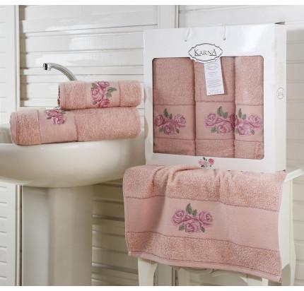 Набор полотенец Karna Havin (грязно-розовый, 3 предмета)