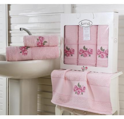 Набор полотенец Karna Havin (розовый, 3 предмета)