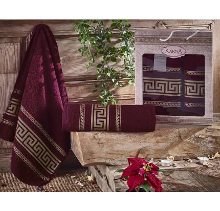 Набор полотенец Karna Iteka (бордовый, 2 предмета)