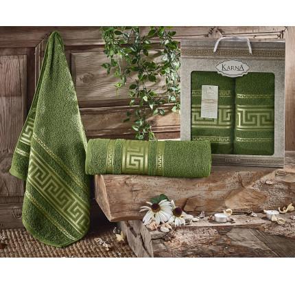 Набор полотенец Karna Iteka (темно-зеленый, 2 предмета)
