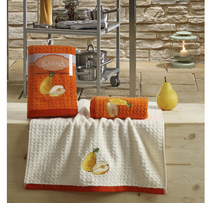 Набор салфеток Karna Lemon V3 (2 предмета, оранжевый) 40x60