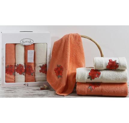 Набор полотенец Karna Orkide (коралловый, 4 предмета)