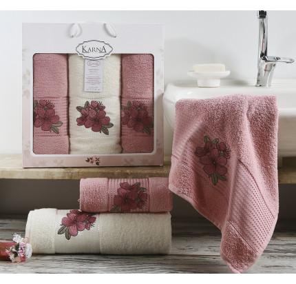 Набор полотенец Karna Orkide (розовый, 3 предмета)