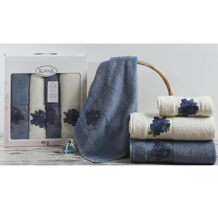 Набор полотенец Karna Orkide (синий-саксен, 4 предмета)