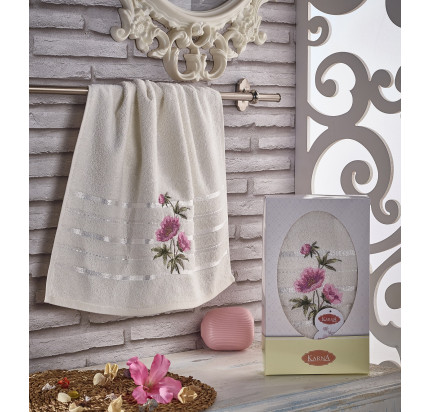 Полотенце в коробке Karna Rozenya (кремовое, 50x90)