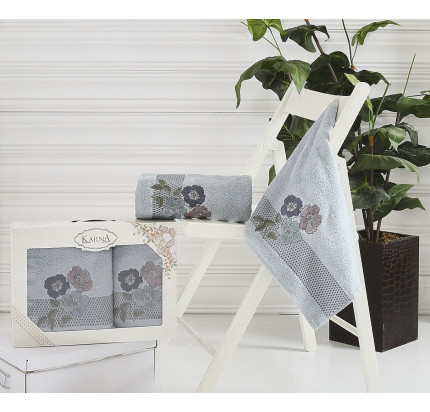 Набор полотенец Karna Sandy (стоне, 2 предмета)