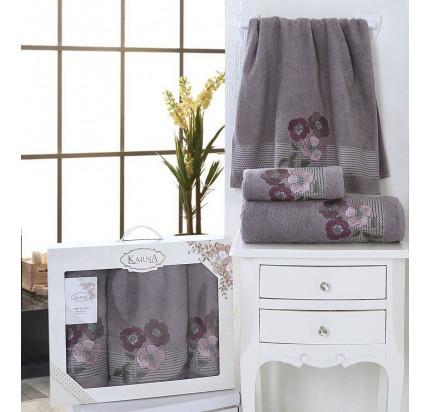 Набор полотенец Karna Sandy (темно-серый, 3 предмета)