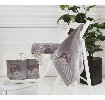 Набор полотенец Karna Sandy (темно-серый, 2 предмета)