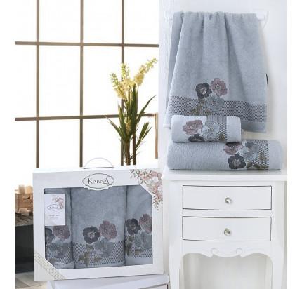 Набор полотенец Karna Sandy (стоне, 3 предмета)