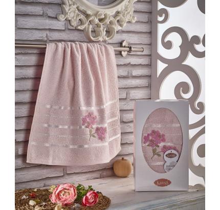 Полотенце в коробке Karna Sisley (розовое, 50x90)
