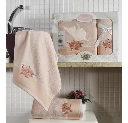 Набор полотенец Karna Spray (светло-абрикосовый, 2 предмета)