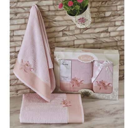 Набор полотенец Karna Spray (светло-розовый, 2 предмета)