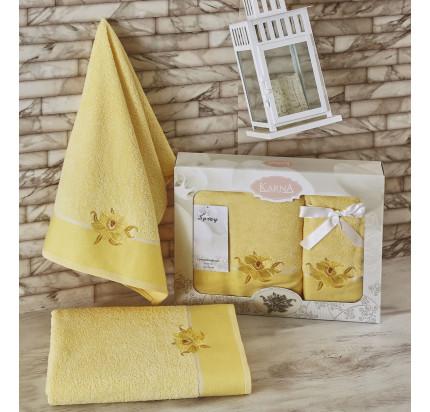 Набор полотенец Karna Spray (светло-желтый, 2 предмета)