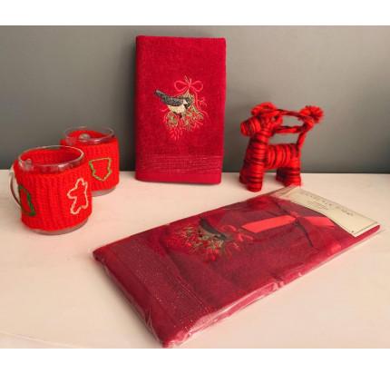 Новогоднее полотенце-салфетка La Villa Kus desen (бордовый)