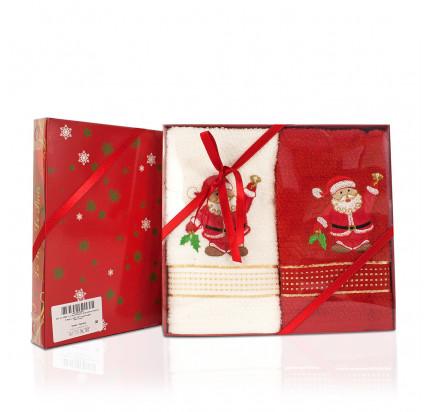 Новогодний набор махровых полотенец La Villa De Paris Дед Мороз (2 предмета, 45x70 см.)