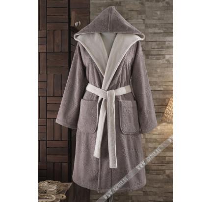 Подарочный набор Soft Cotton Leaf коричневый (халат + тапочки + полотенце)