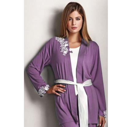 Пижама c халатом Luisa Moretti LMS-2011 (кремовая-сиреневая)