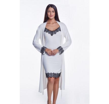 Пижама c халатом Luisa Moretti LMS-4026 (кремовая)