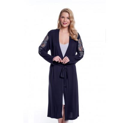 Пижама c халатом Luisa Moretti LMS-4042 (черно-серый)