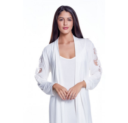 Пижама c халатом Luisa Moretti LMS-4042 (кремовая)