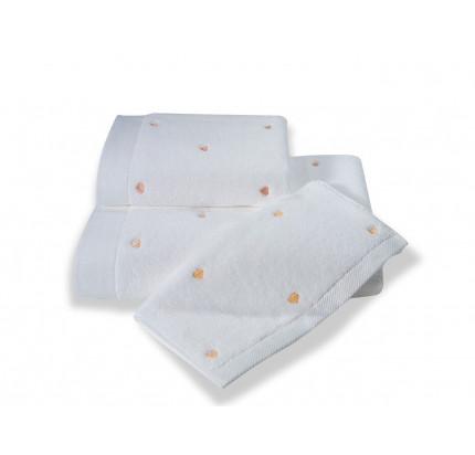 Полотенце Soft Cotton Love (белое с персиковым)