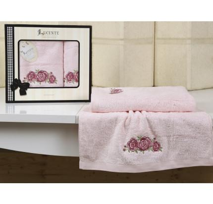 Набор полотенец Lucente RIso (розовый, 2 предмета)