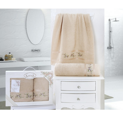 Набор полотенец Karna в коробке Monica (бежевый, 2 предмета)