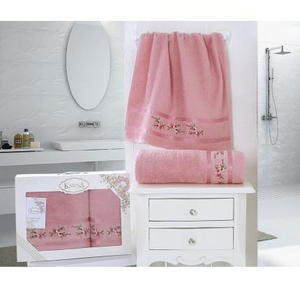 Набор полотенец Karna в коробке Monica (грязно-розовый, 2 предмета)