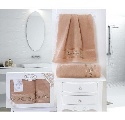 Набор полотенец Karna в коробке Monica (персиковый, 2 предмета)