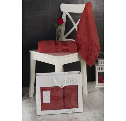 Набор полотенец Karna в коробке Rebeka (кирпичный, 2 предмета)