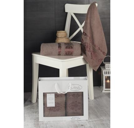 Набор полотенец Karna в коробке Rebeka (коричневый, 2 предмета)