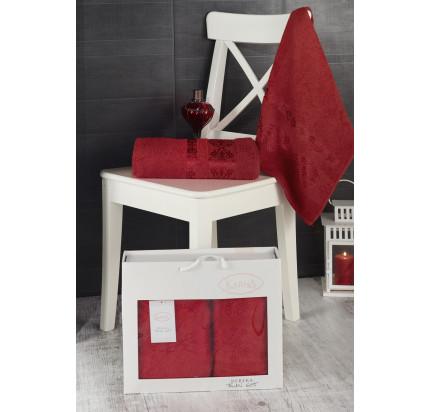 Набор полотенец Karna в коробке Rebeka (красный, 2 предмета)