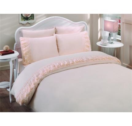 Свадебное постельное белье Gelin Home Neslisah (персиковое) евро