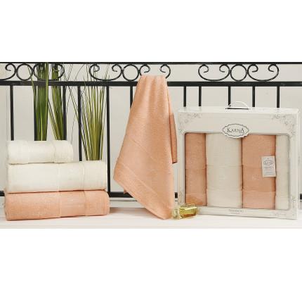 Набор полотенец Karna Pandora (кремовый-абрикосовый, 4 предмета)