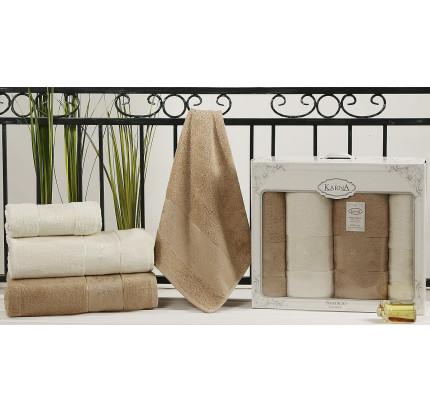 Набор полотенец Karna Pandora (кремовый-кофейный, 4 предмета)