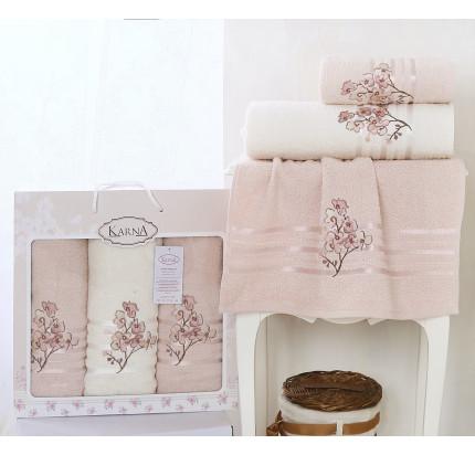 Набор полотенец Karna Papilon (светло-абрикосовый, 3 предмета)